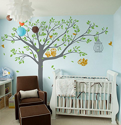 Pop Decors Vinyl Art Wall Decals Mural for Nursery Room, Nursery Tree with Cute Owl's Removable Grey - 1