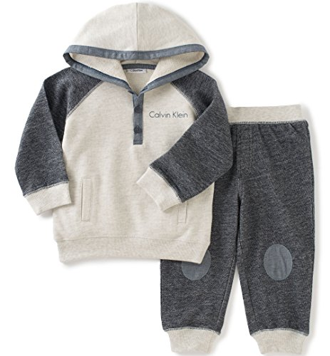 Calvin Klein Baby Color Block Hooded Pullover with Pants Set, Blue, 12 Months