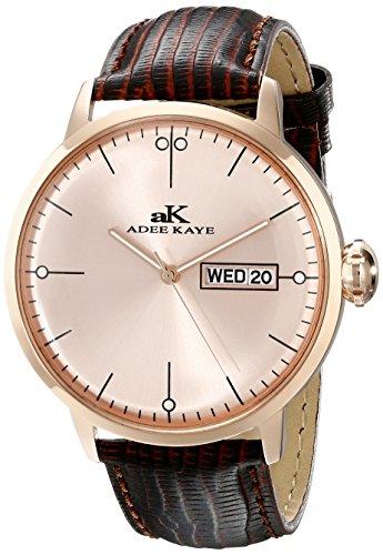 Adee Kaye Vintage AK2226-MRG-RG 51.04x44.86mm Stainless Steel Case Brown Calfskin Mineral Men's Watch