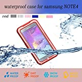 Samsung Galaxy Note 4 Waterproof case, Nika shop Ultra Water Resistant Waterproof Shockproof Crashproof Dustproof Dirt Proof Snow Proof Sand Proof Swimming Diving Hard Skin Protective Bumper Case Cover Defender with Impact Resistant Screen Protector Dirt Proof Durable Case Cover for Samsung Galaxy Note4 IV With Clear Screen Protector(1-Red)
