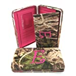 "Soft Camo Initial "" E "" Thick Flat Wallet Clutch Purse Hot Pink Camoflauge"