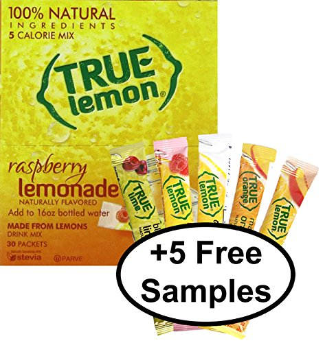 True Raspberry Lemonade 30Ct (1Pk) With 5 Free Sample Lemonade Sticks (Mango Orange, Peach, Black Cherry, Lemonade, Raspberry)
