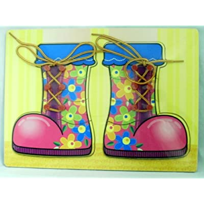 Wooden Puzzle/Jigsaw Playtray: Boots Laces