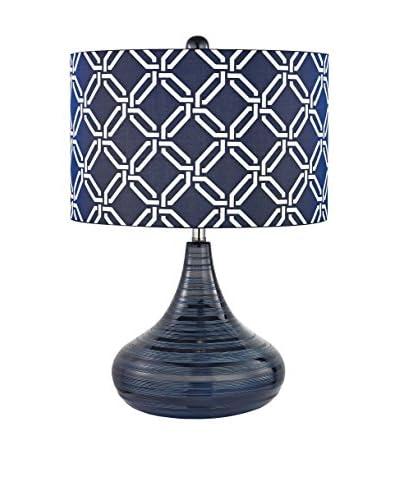 Artistic Lighting Navy Blue Textured Ceramic Table Lamp