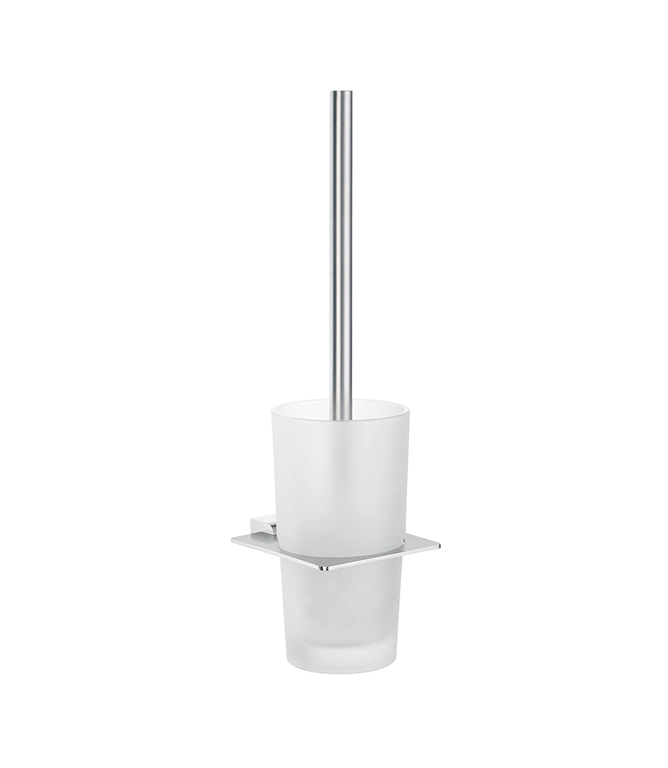 Spa Toilet Brush Holder w Glass Container (Brushed Stainless Steel) wholesale and retail golden brass wall mounted bathroom toilet brushed holder crystal style brush cup holder