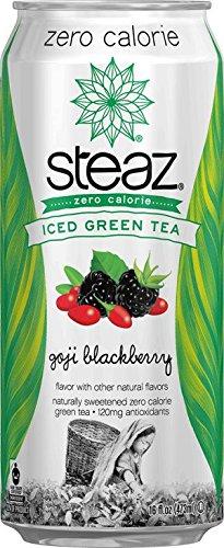 Steaz Zero Calorie Iced Green Tea, Goji Blackberry, 16 Ounce (Pack of 12)