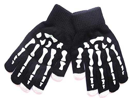 Skeleton Print Touch Screen Gloves Winter Warm Gloves