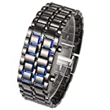 New LED Light Mens Womens men digital Sport Wrist Watch black wrist with blue led available at Amazon for Rs.6678