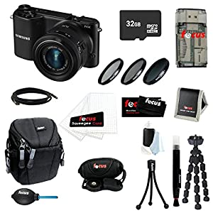 Samsung NX2000 20.3MP SMART Camera with 20-50mm Lens (Black) Bundle with 32GB Deluxe Accessory Kit