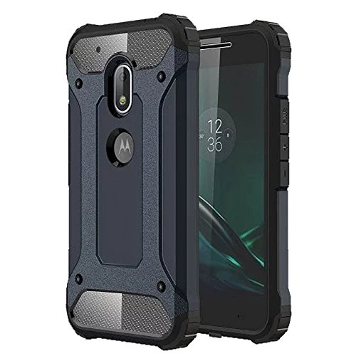 uk availability 6570c c375e Motorola Moto G4 Plus, Heavy Duty Rugged Tough Hybrid Armor Back Case Cover  For Motorola Moto G4 Plus-Navy Blue