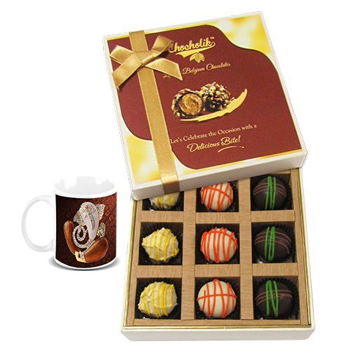 Chocholik Belgium Chocolates - 9pc Scrumptious White Collection Of Chocolates With Diwali Special Coffee Mug -...