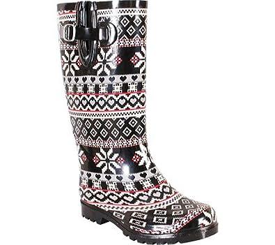 Nomad Women's Puddles Rain Boot, Black Snow Heart, 5