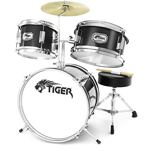 Tiger JDS7-BK - Set percussioni per principianti, colore: Nero
