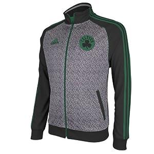 NBA adidas Boston Celtics Static Full Zip Track Jacket - Gray Black by adidas