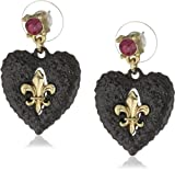 "Betsey Johnson ""Betsey Goes to Paris"" Glitter Heart Drop Earrings"