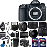 Canon EOS 70D 20.2 MP Dual Pixel CMOS Digital SLR Camera + Canon EF 50mm f/1.8 II SLR Lens + Sigma 70-300mm f/4-5.6 SLD DG Macro Lens with built in motor + Spare LP-E6 Lithium-Ion Battery + Battery Charger + 58mm 2x Professional Lens + High Definition 58mm Wide Angle Lens + Auto Flash + Uv Filter Kit with 24GB Complete Deluxe Accessory Bundle