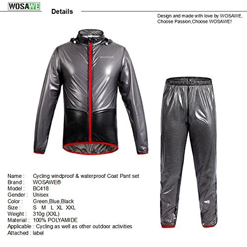 WOLFBIKE NEW Raincoat Rain Jacket Windproof Waterproof Cycling Raincoat Pants (Gray Suit, Large) (Bicycle Rain Gear For Men compare prices)