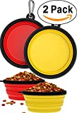 2 Pack Collapsible Travel Dog & Cat Bowl [FREE Carabiner] BPA Free - Pet Bowl for Large Small Dogs Cats & Puppy - Best Foldable Expandable Cup Dish Feeding Feeder Food Water Camping [Yellow & Red]