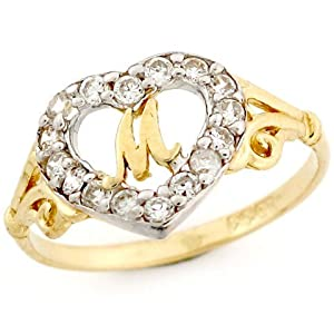 M Letter In Ring Letter  m  Initial CZ Ring