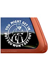 You Might Get In... Rottweiler Guard Dog Vinyl Window Decal Sticker