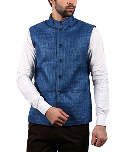 SOLEMIO Men Poly Cotton Ethnic Jackets (A15JK5501EBU_M_BU_Medium)
