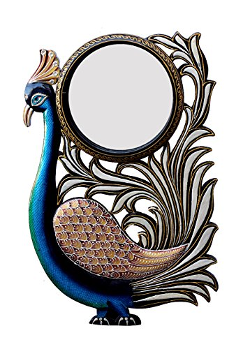 Divraya Wood Peacock Wall Mirror (30.48 Cm X 4 Cm X 45.72 Cm, DA135)