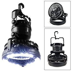 Pixnor 2-in-1 Multi-functional Weather Resistant 18-LED Camping Tent Light Lamp with Ceiling Fan (Black) from Pixnor