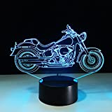 Circle Circle New Motorcycle Motorbike 3D Optical Illusion Table Lamp 7 Colors Change Touch Button and 15 Keys Remote Control LED Light Decor