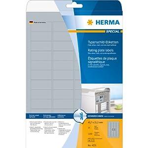 Herma Typenschildetiketten A4 4221 45,7x21,2 mm extrem stark haftend Folie matt 1200 Stück silber