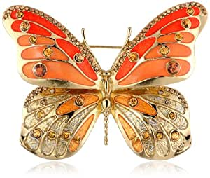 """Napier """"Giftable"""" Gold-Tone Coral Pink Butterfly Pin"""