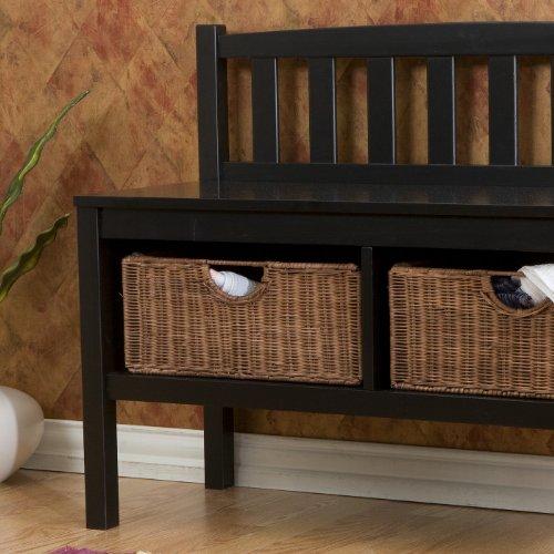 Southern Enterprises Black Bench with Brown Rattan Baskets
