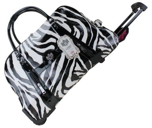 Exoticglitter LYDC Ladies Designer Travel Bag Black &amp; White Zebra Croc Holdal Ladies Trolley Hand Shoulder bag