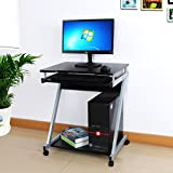 Songmics 60 x 48 x 73 cm Computer Desk Z-Shaped with Sliding Keyboard 4 Wheels PC Table Movable Portable Trolley Study Workstation Black LCD811B