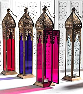 Tall Moroccan Style Glass Lamp Lantern, Coloured Glass and Iron, Fairly Traded, in pink from Namaste