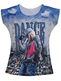 Leichie Casual Top With Over All Digital Print Of Girl, Color Rani, Size 22
