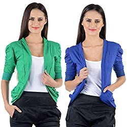 Green & Blue Cotton Gathering Sleeve Regular Fit Shrugs (Combo Set of 2)