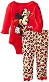 Disney Baby Girls Newborn Minnie Mouse Bodysuit and Pant Set, Red, 0-3 Months
