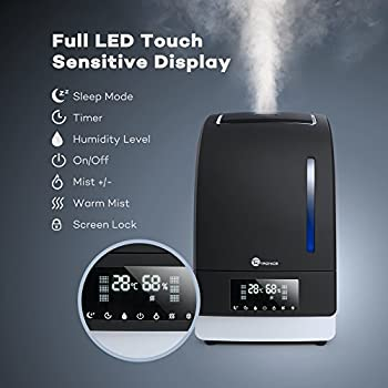 Warm & Cool Mist Humidifier with LED Display, TaoTronics Ultrasonic Air Humidifiers for Bedroom with 6L/1.6 Gallon Capacity, Touch Sensitive LED Display, Air Filter, Low Water Protection, US Plug 120V