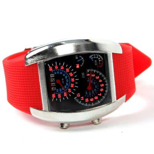 Shot-In Creative Led Watch Sector Sports Car Meter Dial Men Wrist Watch (Red)