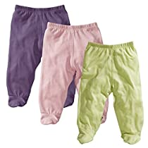Baby Soy O Soy 3-piece Footie Pants Set for Girls, 6-12M (Meadow, Peony, Wineberry)