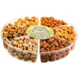 Gourmet Nut Gift Tray 6 Section (1 Pound) ** Freshly Roasted Mixed Nuts Tray ** Anniversary Birthday Gourmet Nuts Gift Basket