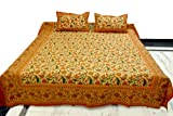 Indian Bed Sheet Home Furnishing Hand Block Printed Cotton Double Bed Size  ....