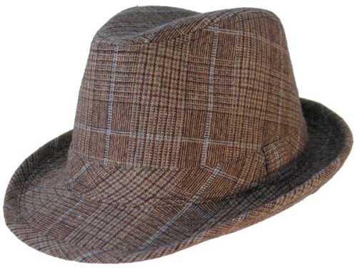 Buy PLAID FEDORA WOOL TRILBY HAT OLIVE KHAKI BLUE