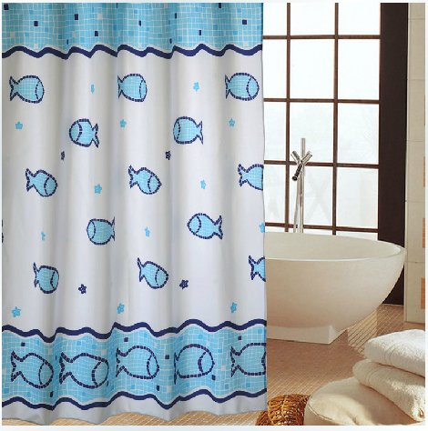 Eforgift Fishy Pattern Fabric Waterproof Shower Curtains With Free Hooks, 72-Inch By 78-Inch,Blue And White
