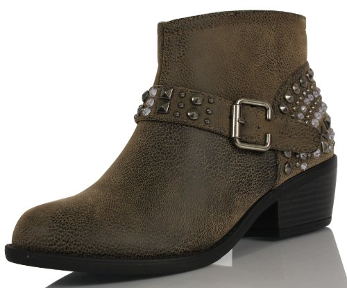 Soda Women'S Also Faux Leather Western Rhinestone Studded Buckle Dress Ankle Boots, Dark Taupe, 8.5 M Us