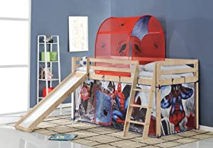 Spiderman Cabin Bed with Tent and Slide in Pine 70-PINE-SPIDERMAN