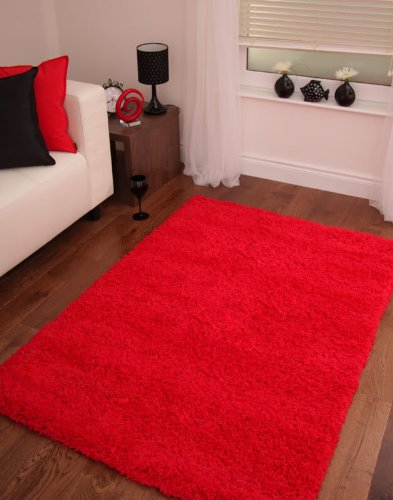 LUXURIOUS SOFT DENSE PILE RED SHAGGY RUG 6 SIZES AVAILABLE 160cmx220cm (5ft3