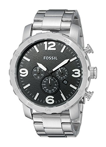 Fossil Men's JR1353 Silver Stainless-Steel Analog Quartz Watch with Black Dial