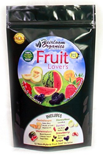 Heirloom Organics NON-GMO Fruit Lover's Seed Pack - 12 Varieties Non-Hybrid Fruit Seeds - Hermetically Sealed for Long Term Storage (Heirloom Grape Seeds compare prices)