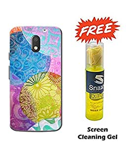 Case Cover Printed Multicolor Hard Back Cover For Moto e3 Power Smartphone (Screen Cleaning Gel Free)